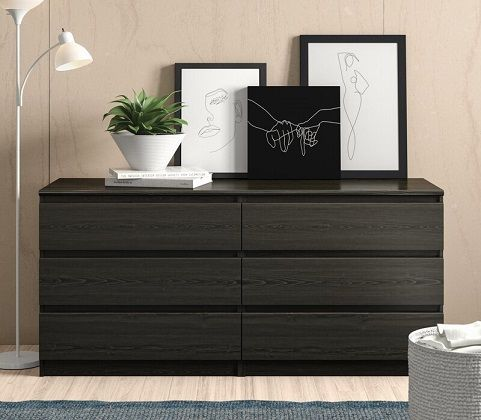 Kepner 6 Drawer Double Black Dresser, by Zipcode Design