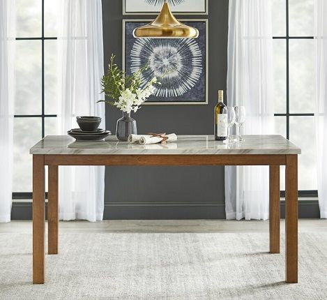 Losey Rectangular Faux Marble Dining Table, by Brayden Studio