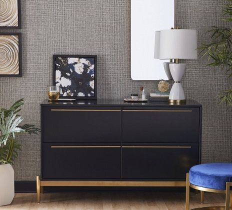 MoDRN Neo Luxury Dylan 4 Drawer Dresser Black and Gold