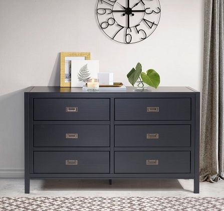 Modern Black 6-Drawer Dresser, by Carson Carrington