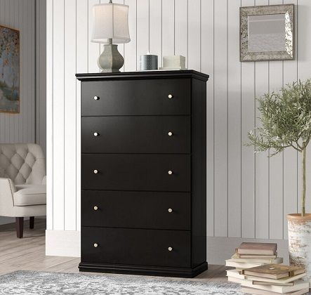 Petersfield 5 Drawer Tall Black Dresser, by Three Posts