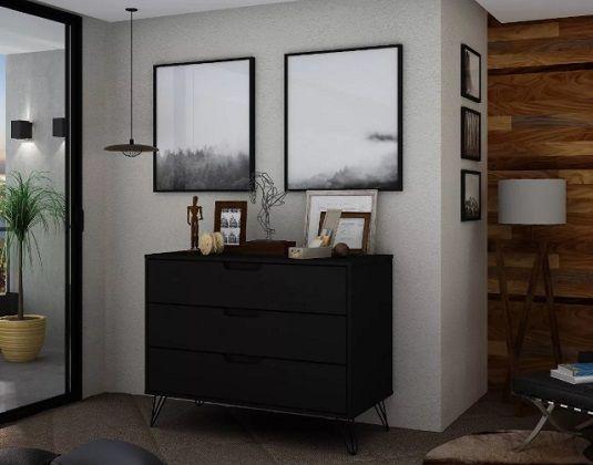 Rockefeller Modern Black Dresser - Manhattan Comfort