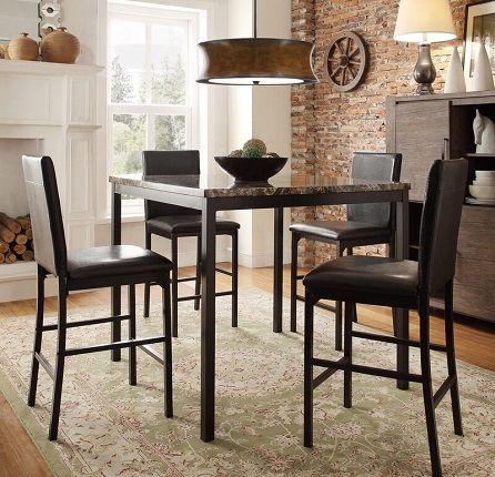 Roman Counter Height Faux Marble Dining Table, by Kingstown Home