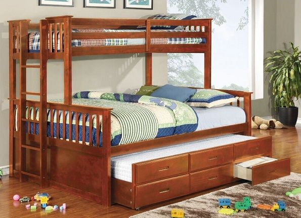 Sandra Twin Over Queen Bunk Bed with Trundle, by Viv + Rae