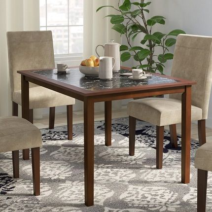 Segura Faux Marble and Pine Wood Dining Table, by Winston Porter