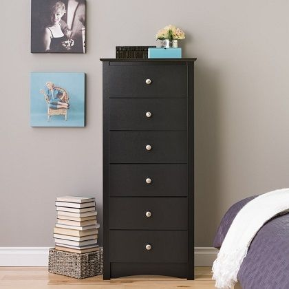 Sonoma 6-drawer Tall Black Chest, by Prepac
