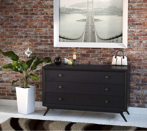 Tracy 3-Drawers Black Wood Dresser by Modway
