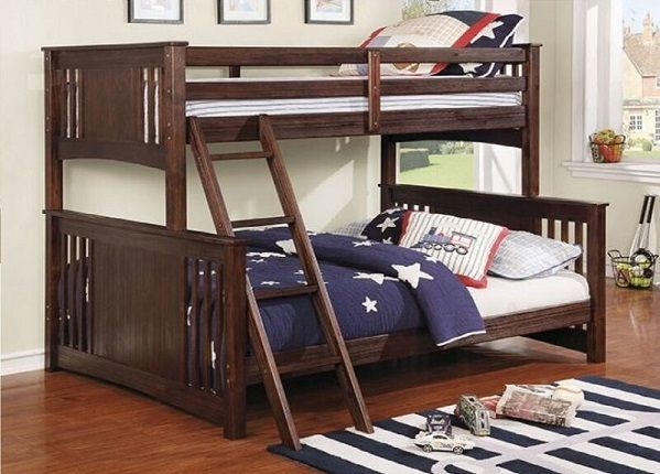 Twin over Queen Size Charli Bed with Angle Ladder, by Harriet Bee