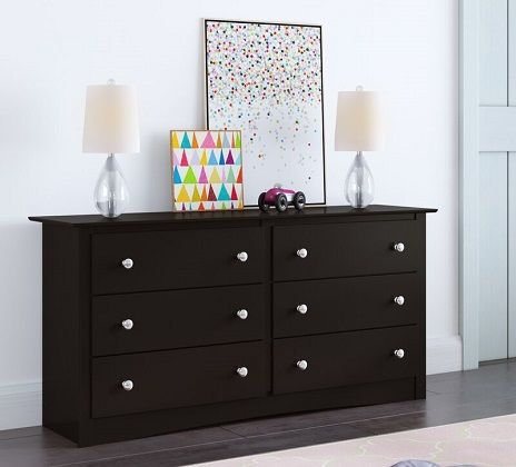 Wanda 6 Drawer Black Double Dresser, by Latitude Run Shop