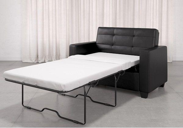 Mainstays Loveseat Sleeper Sofa, Twin, Black Faux Leather