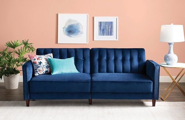 Nia Velvet Twin Square Arm Sleeper couch, by Willa Arlo Interiors