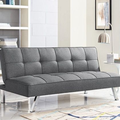 Twin 66.1 Tufted Back Convertible Sofa futon couch, by Serta Futons