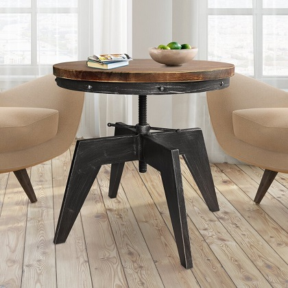 Hogge Pedestal Coffee Table with Adjustable Height, by Williston Forge