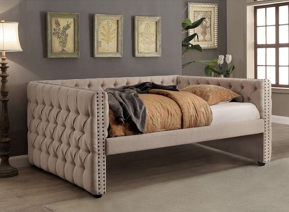 Maua Contemporary Ivory Fabric Tufted Daybed, by Furniture of America