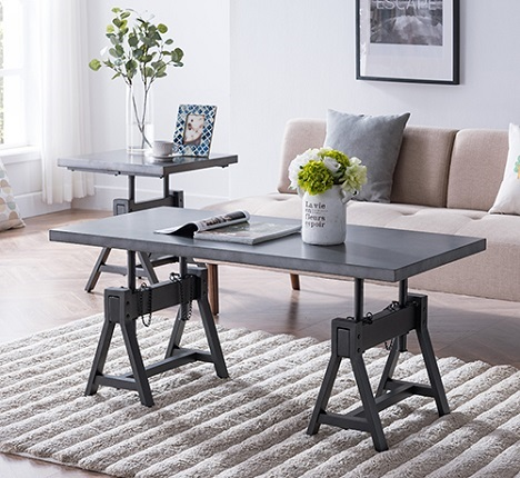 Saveni Industrial Adjustable Height Coffee Table, by River Street Designs