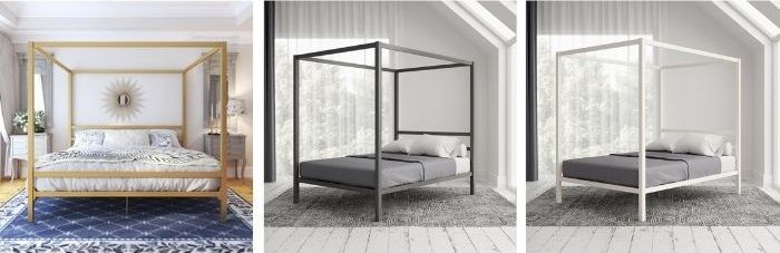 Dubay Canopy Bed in Gold, Grey or White