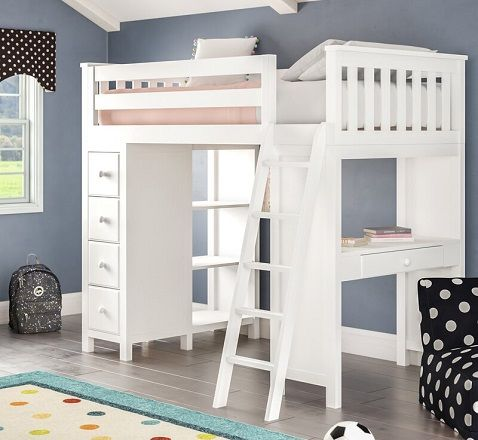 Ayres Twin Loft Bed with Desk, Drawers and Shelves, by Harriet Bee