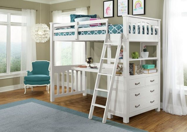 Bedlington Loft Bed with Shelves, by Greyleigh