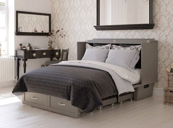 Greeson Queen Storage Murphy Cabinet Bed with Mattress, by Red Barrel Studio