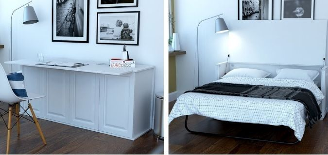 Violetta Queen Murphy Bed with Desk and Mattress, by Red Barrel Studio