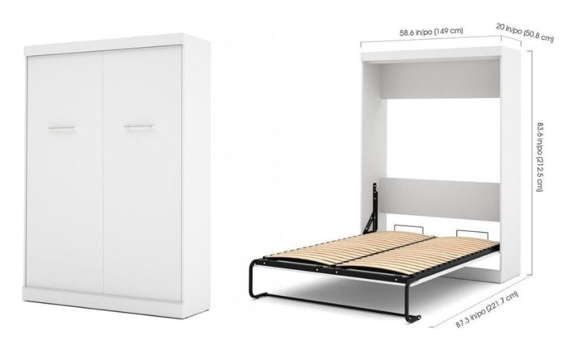 colquitt white full size murphy bed dimensions