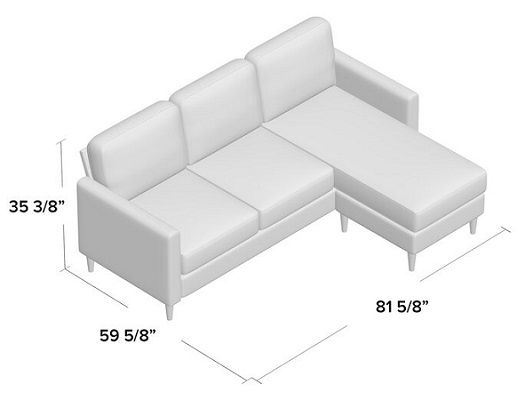 cazenovia reversible sofa and chaise dimensions