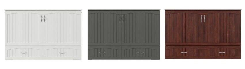 Emil Solid Wood Storage Murphy Bed with Mattress white gray walnut