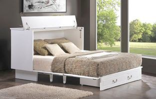 Essie Queen Storage Murphy Bed with Mattress