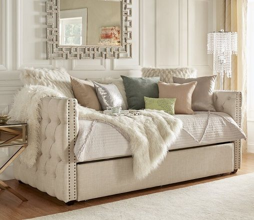 Scribner Button Tufted Full Daybed with Trundle, by Three Posts