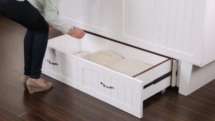 Twin Murphy Platform Bed with Mattress, by Viv + Rae storage drawer