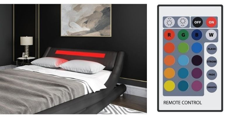 abner sleigh bed LED color lights remote control