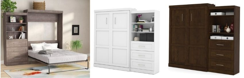 walley storage murphy bed in white gray or chocolate