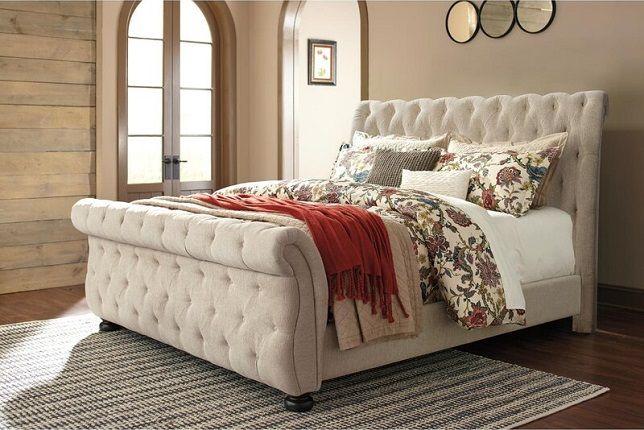 Ballwin Tufted Sleigh Bed