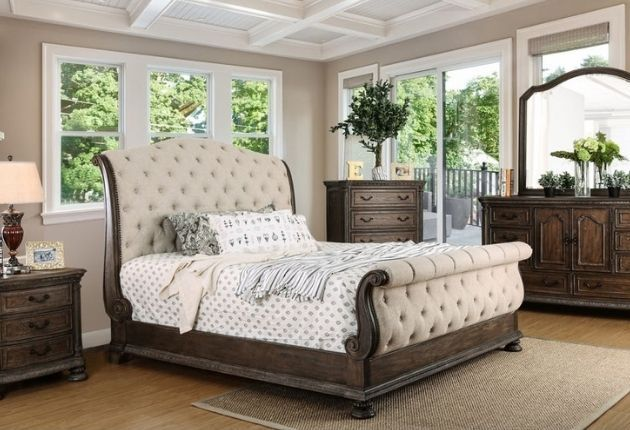 Furniture of America Brev Rustic Button-tufted Sleigh Bed
