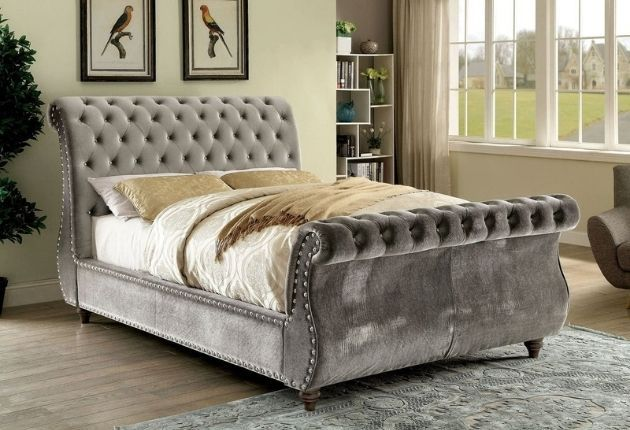 Furniture of America Cown Tufted Sleigh Bed