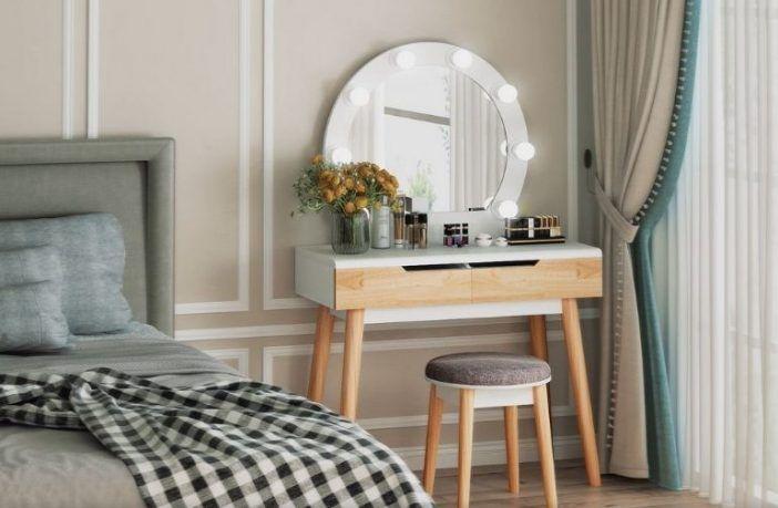 Hermanson Vanity Set with Stool and Mirror
