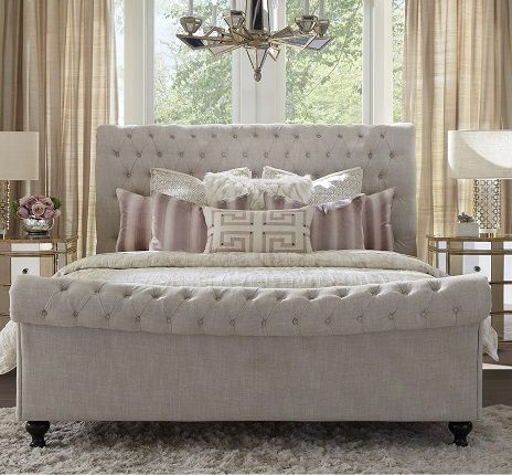 JACKIE - CREPE Tufted Upholstered Sleigh Bed