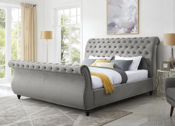 Matos Tufted Upholstered Sleigh Bed, by Rosdorf Park