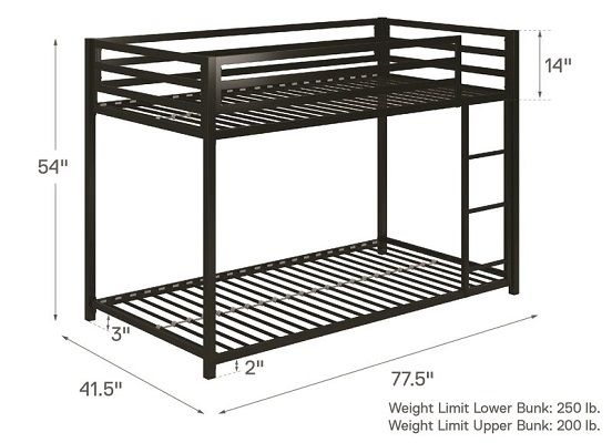Simoneau twin over twin Bunk Bed dimensions