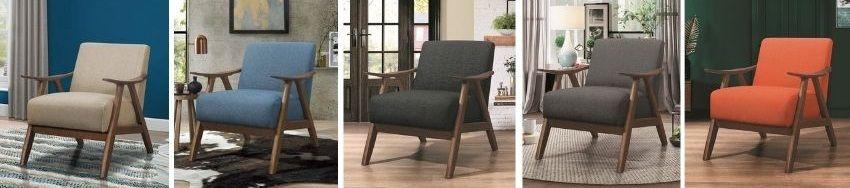 hofstetter armchair in orange, grey, blue, brown