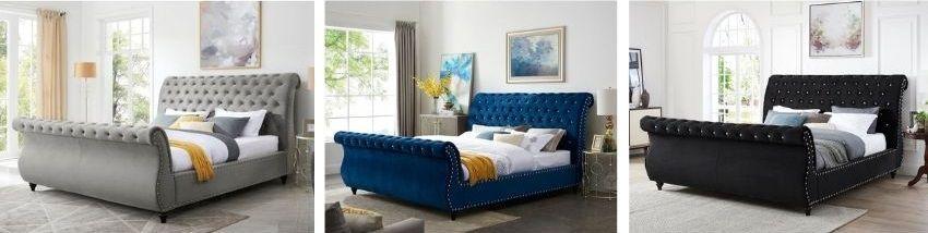 matos bed in grey black blue velvet