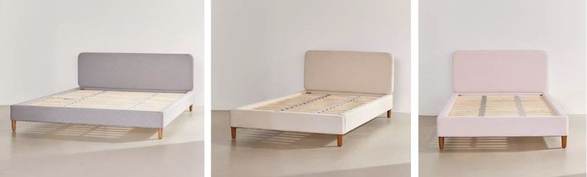 riley platform bed in taupe, pink, grey