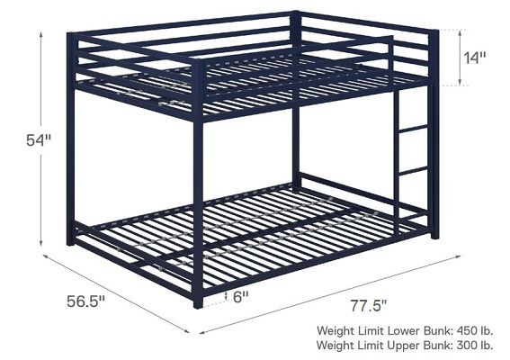 simoneau full over full bunk bed dimensions size