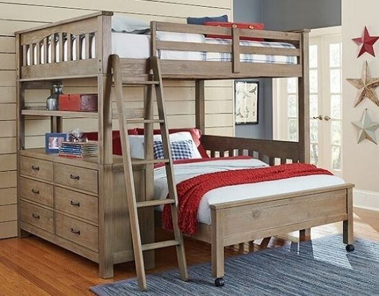 Gisselle L-Shaped Bunk Bed with Drawers and Shelves