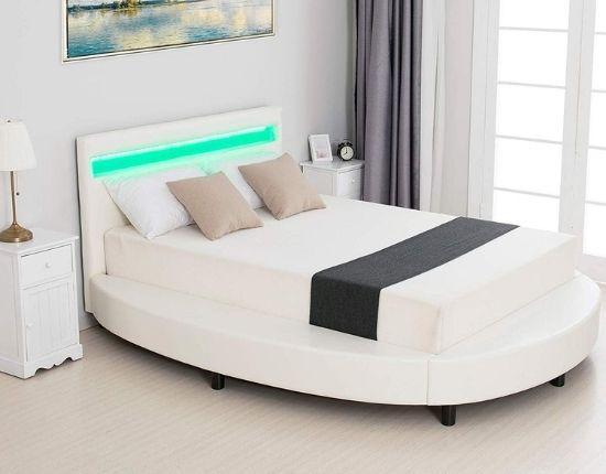 Mecor Modern Upholstered Round Platform Bed with LED Light Headboard