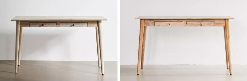 amelia desk in white and brown