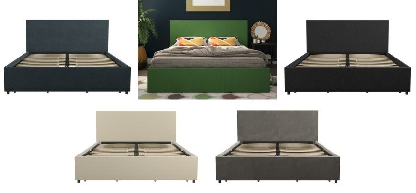 kelly upholstered storage platform bed in gray, navy, ivory color