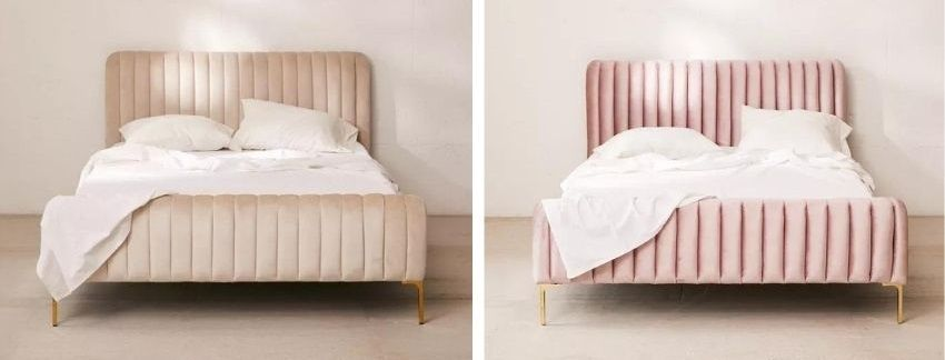 marcella velvet bed in gray or pink