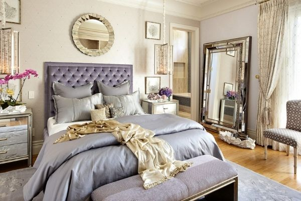 glam bedroom with neutral shades