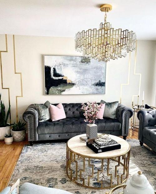 glam chandelier in living room
